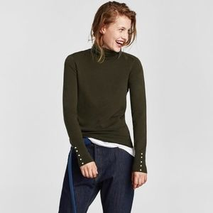 ZARA Knit Turtleneck with pearls on sleeve